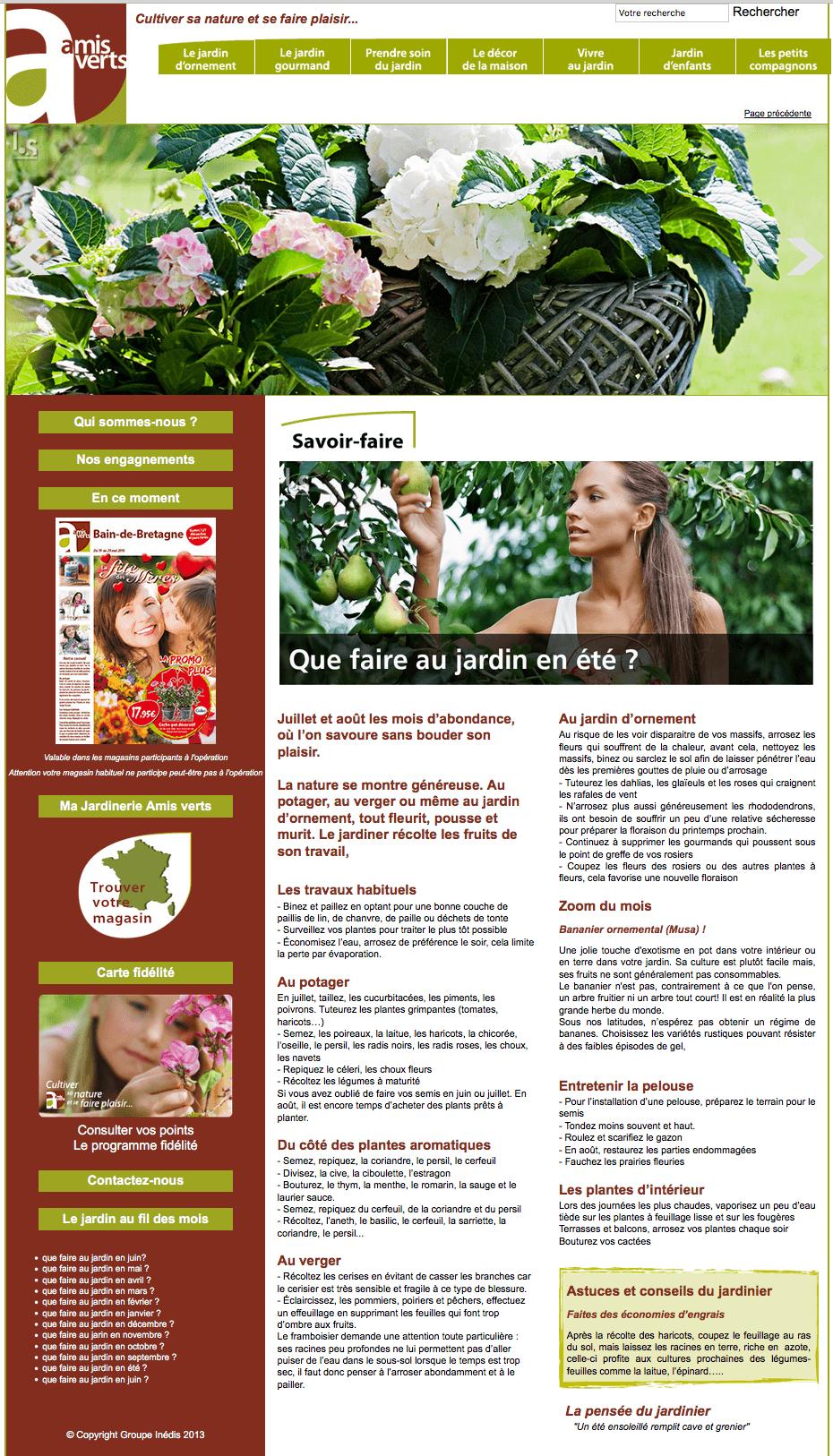 Site web Amis verts du groups Inédis