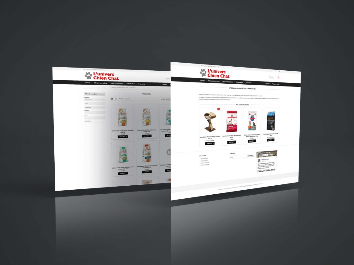 Site ecommerce - univers chiens chats