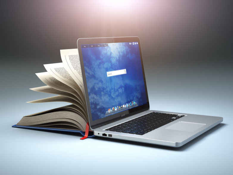 Online library or E-learning concept. Open laptop and book compilation. 3d illustration All textures were created me in Adobe Illustrator.